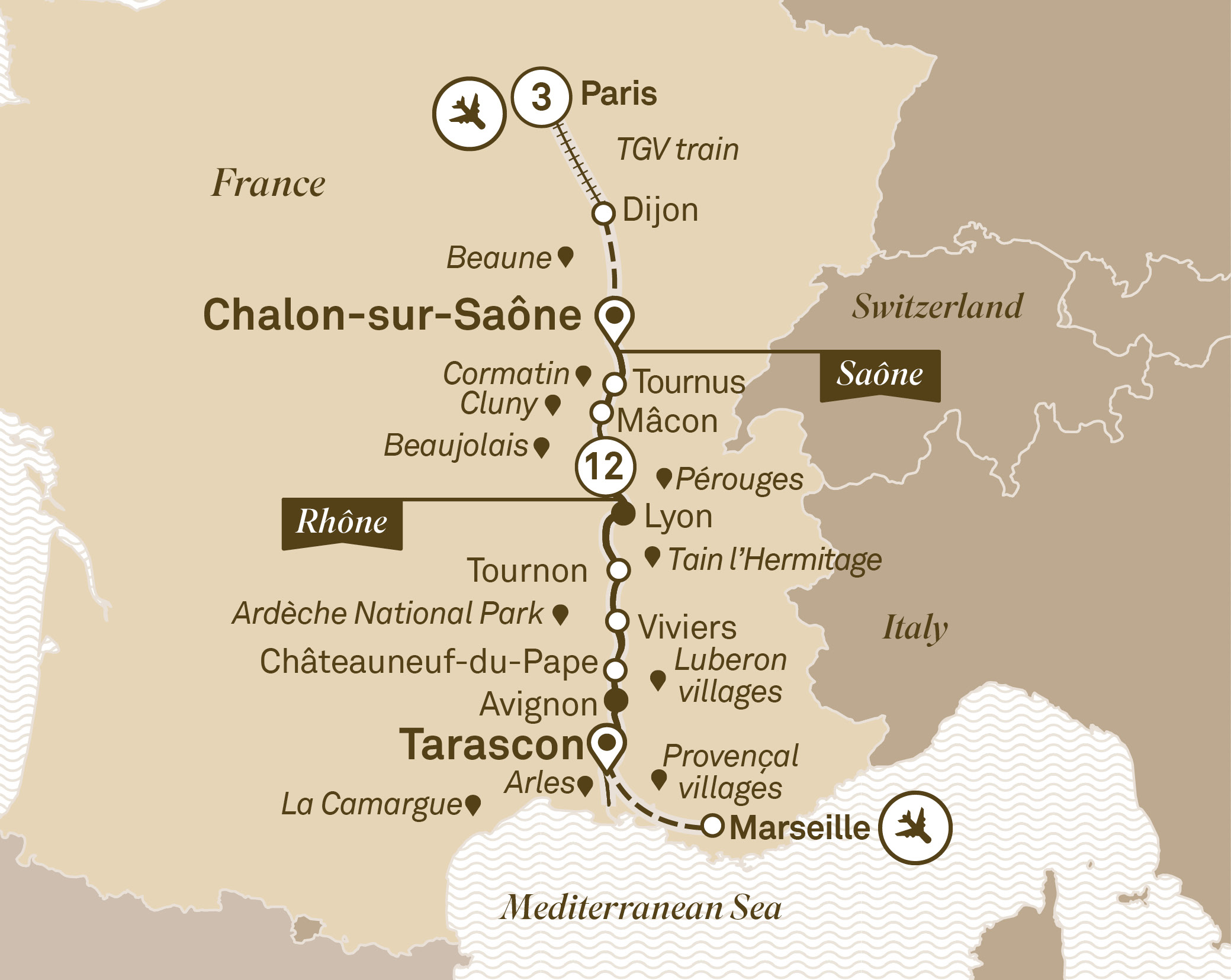 Itinerary Map South Of France With Paris The Luxury Cruise Company