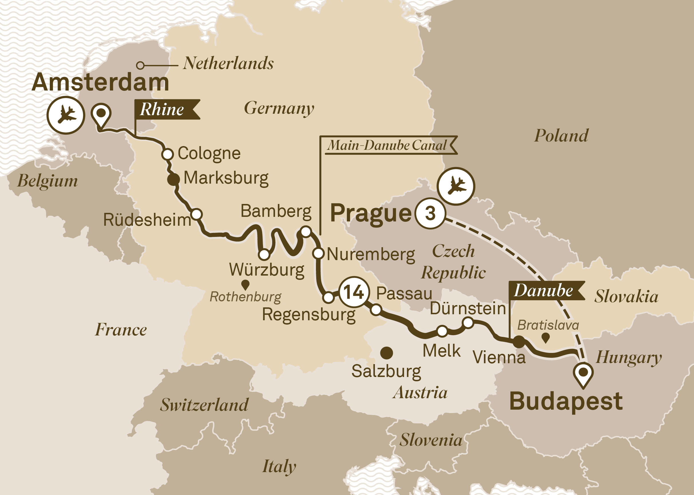 Itinerary map   Jewels of Europe with Prague   The Luxury Cruise Company